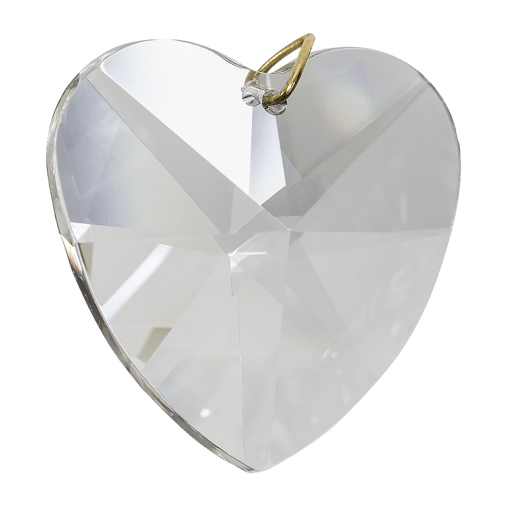 Hanging crystal heart window prism 1 6 inches for Crystal fall