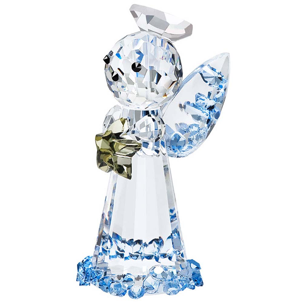 Preciosa Crystal Blue Angel Figurine Holding Gold Star