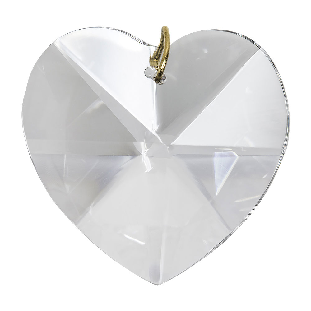Hanging Clear Crystal Heart - 1.2 inches