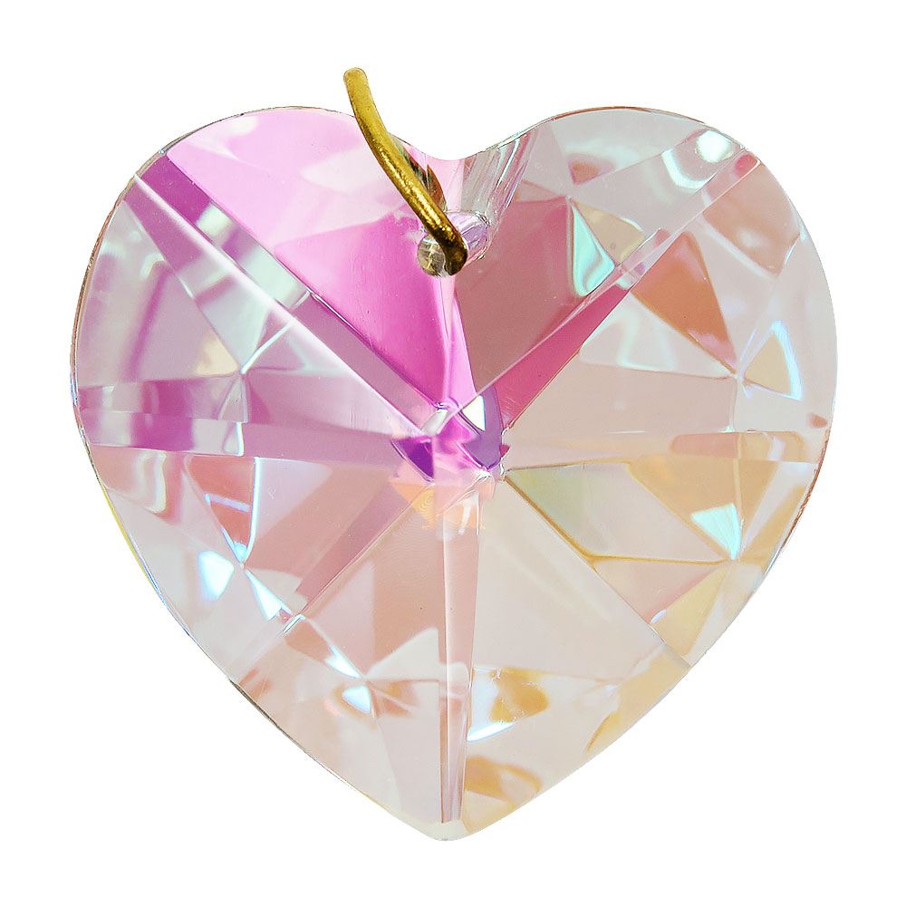 Hanging Aurora Borealis Crystal Heart - 1.2 inches