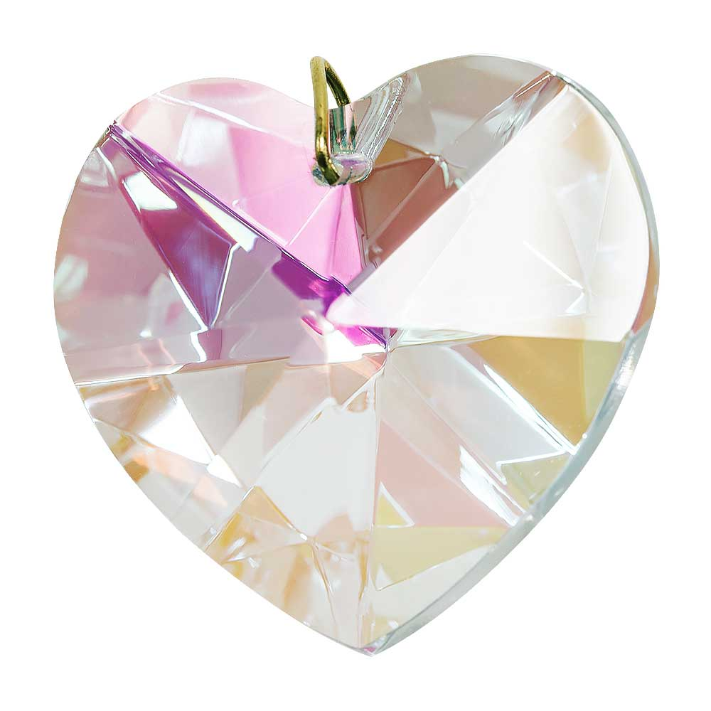 Hanging Aurora Borealis Crystal Heart - 1.6 inches