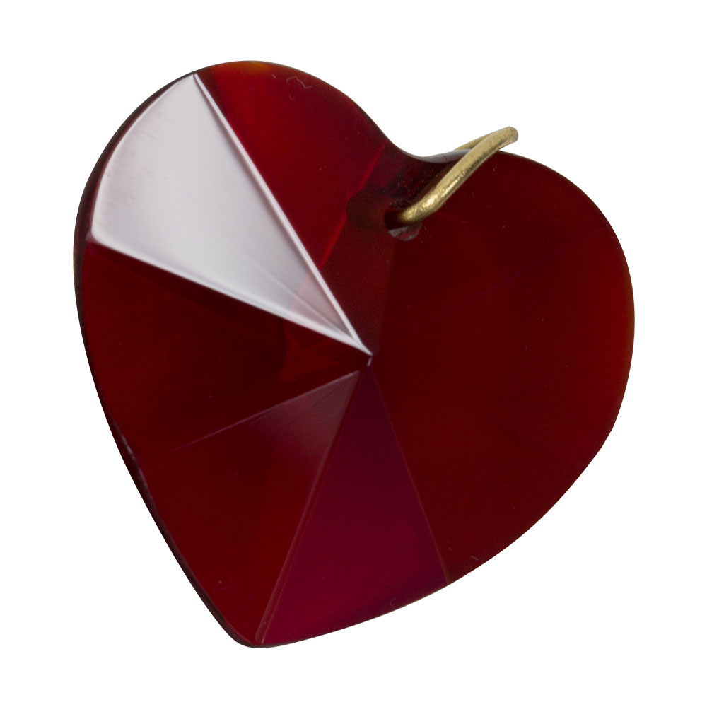 Hanging Ruby Red Crystal Heart - 1.2 inches