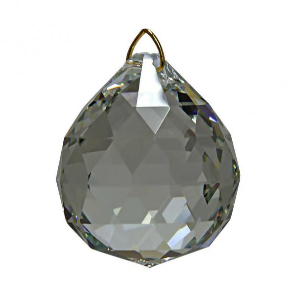 Hanging Crystal Ball in Black Diamond 1.6 inches