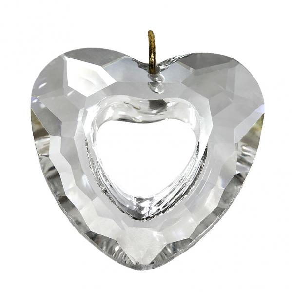 Crystal Heart with Hollow Center Hanging Prism
