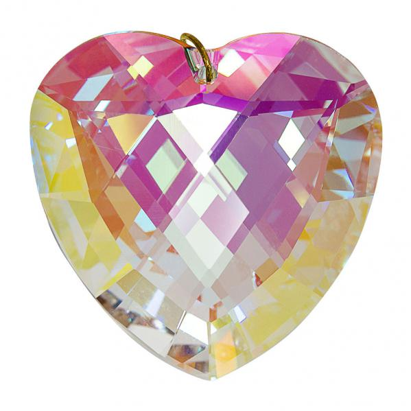 Preciosa Heart Pendant, Aurora Borelis Crystal 1.6 inches