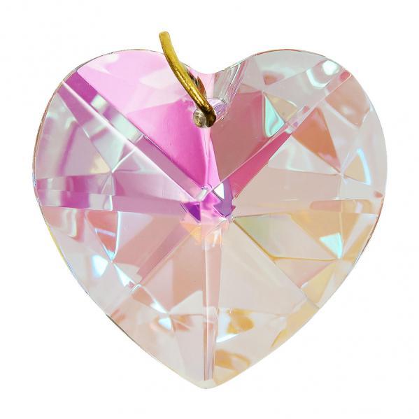 Hanging Aurora Borealis Crystal Heart - 1.2 inches