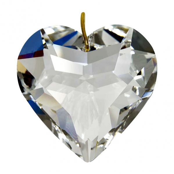 Feng Shui Hanging Puffed Crystal Heart 1.8 inches