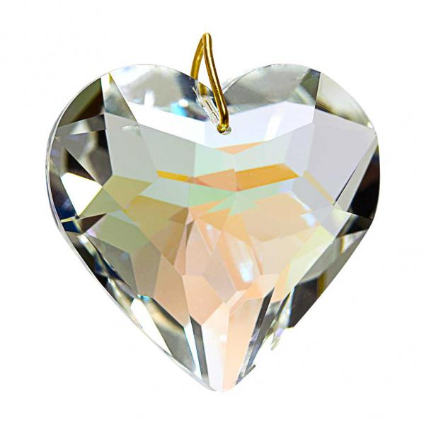 Hanging Aurora Borealis Crystal Puffed Heart 1.78 inches