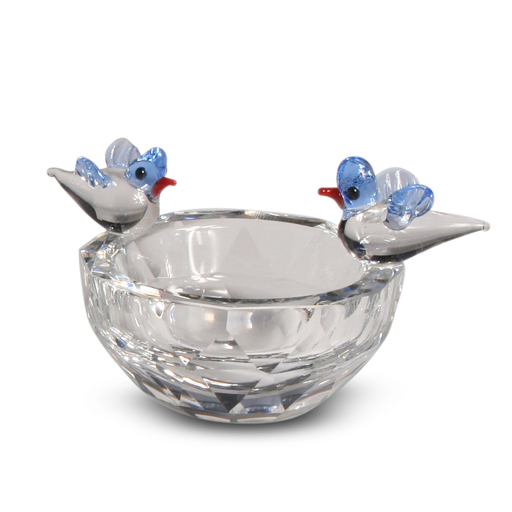 Blue Bird Couple on Crystal Birdbath