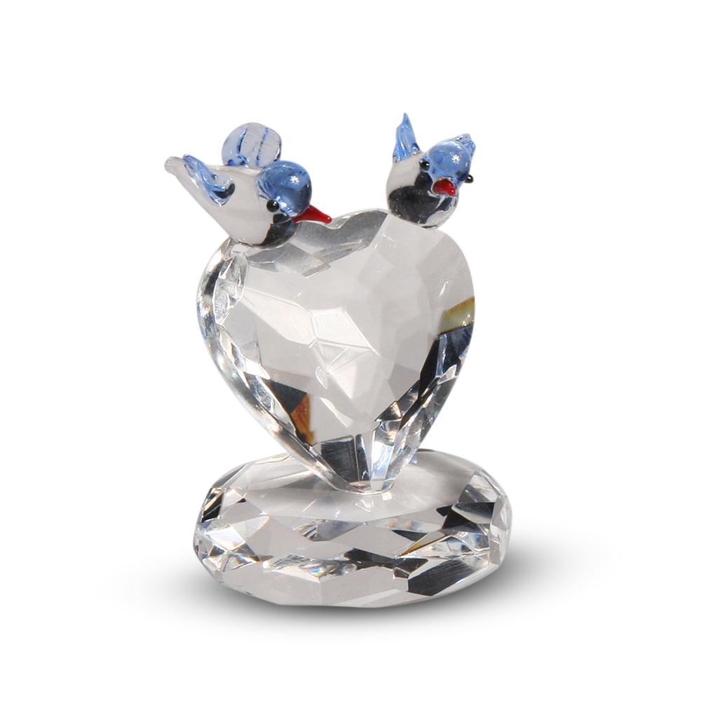 Blue Bird Couple on a Crystal Heart