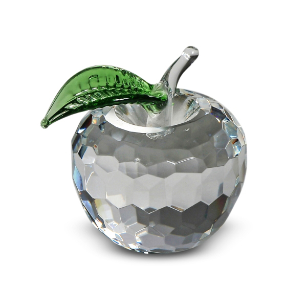 Crystal Apple with Green Leaf 2.25 inches
