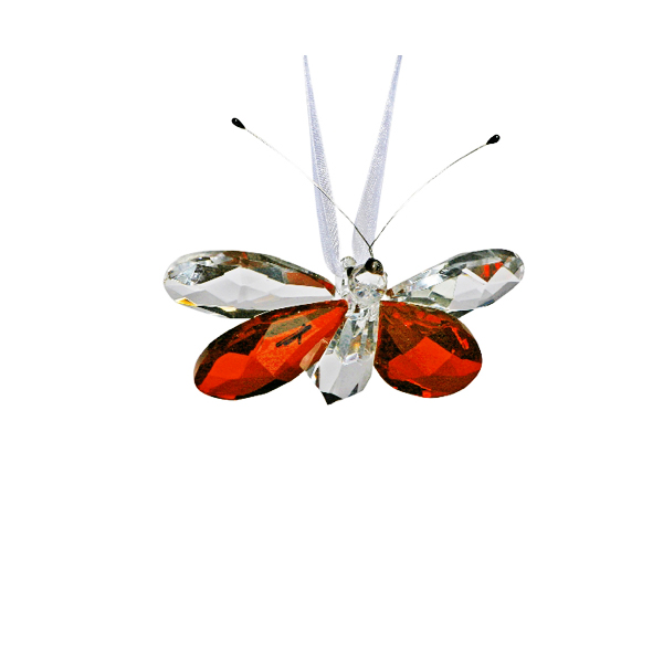 Hanging Amber Crystal Butterfly 3 inches