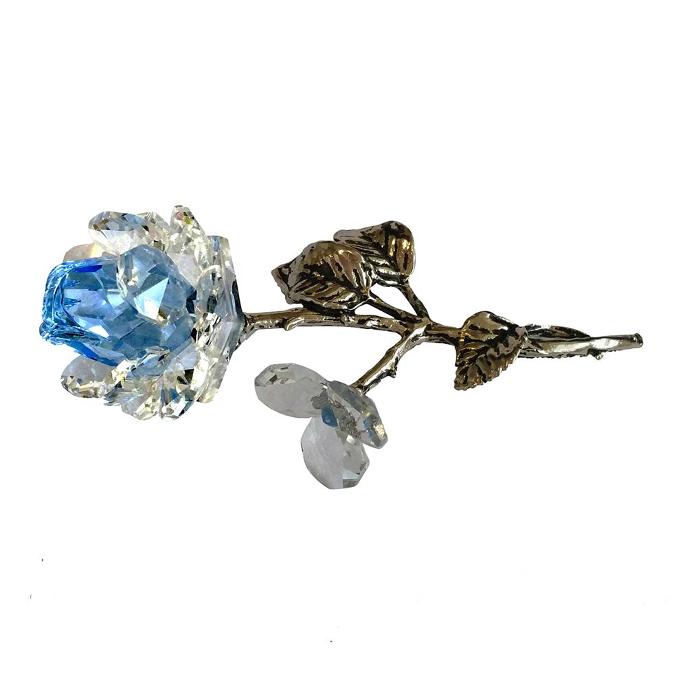 Milano Light Blue Crystal Rose with Metal Stem in Blue Velvet Gift Box