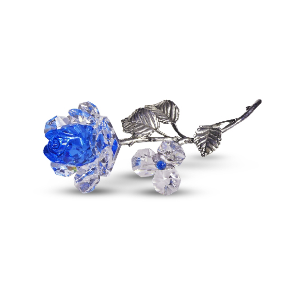 Milano Blue Crystal Rose with Metal Stem in Blue Velvet Gift Box