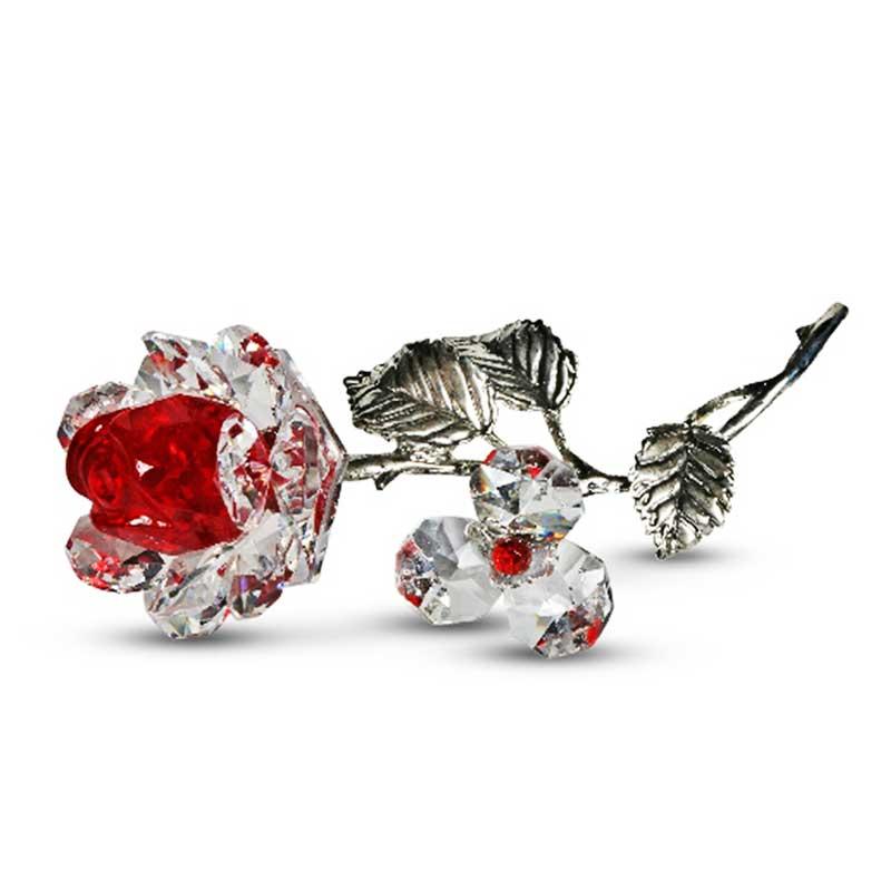 Milano Red Crystal Rose with Metal Stem in Blue Velvet Gift Box