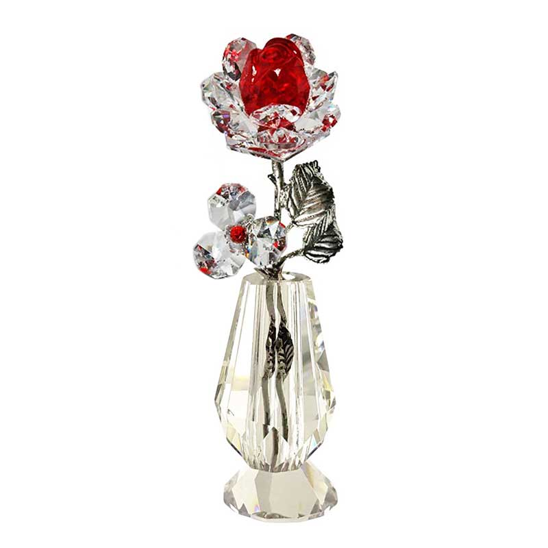 Milano Red Crystal Rose in Crystal Vase