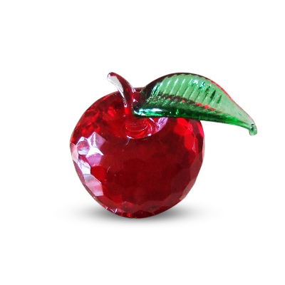 Red Crystal Apple with Green Leaf 1.9 inches