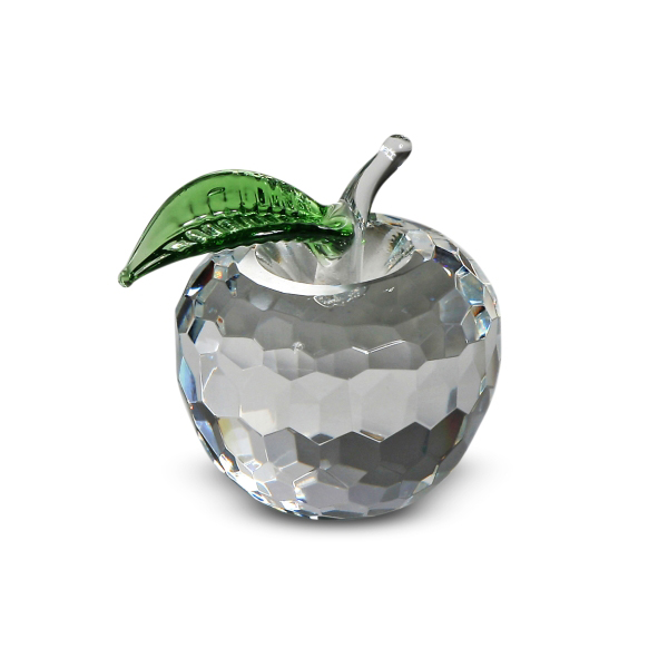 Crystal Apple with Green Leaf 1.9 inches