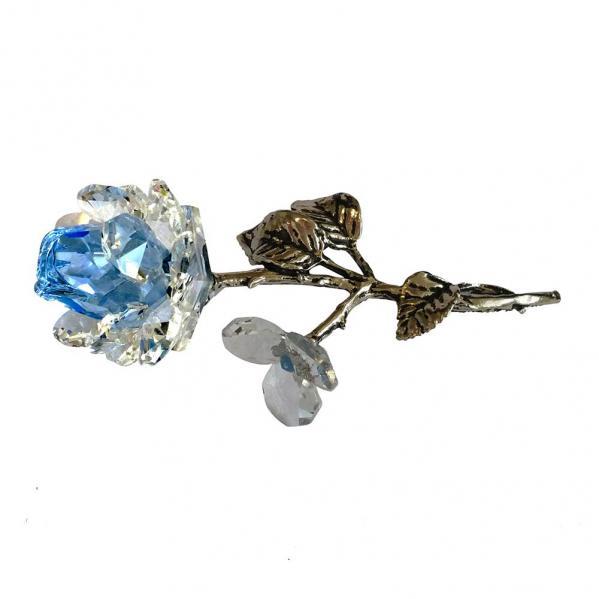 Milano Light Blue Crystal Rose with Metal Stem in Blue Velvet Gift Box
