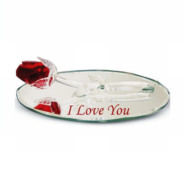 Crystal Red Rose on Oval Mirror with Engraved I Love You