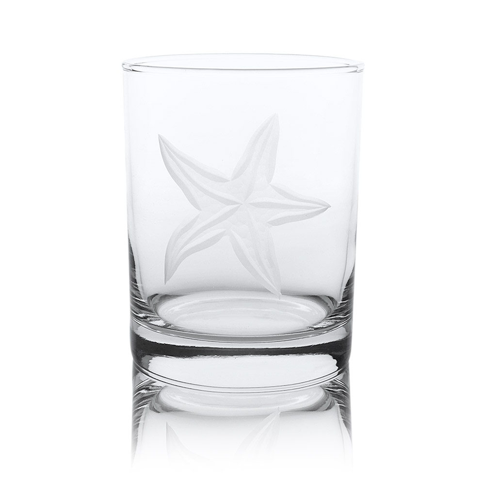 Rolf Glass Starfish Double Old Fashioned Whiskey Glass 14 oz. (Set of 4)