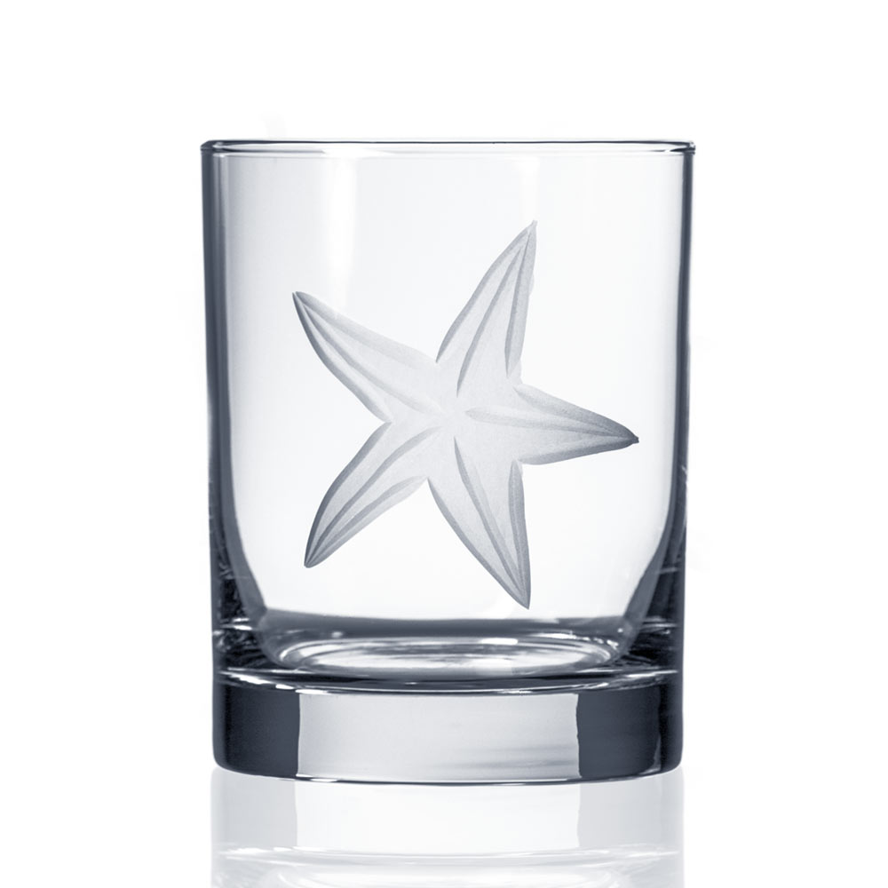 Starfish Etched Double Old Fashioned Whiskey Glasses by Rolf Glass 12 oz. Set of 4