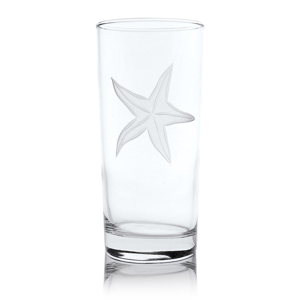 Rolf Glass Starfish Highball Drink Glasses 15 oz. (Set of 4)