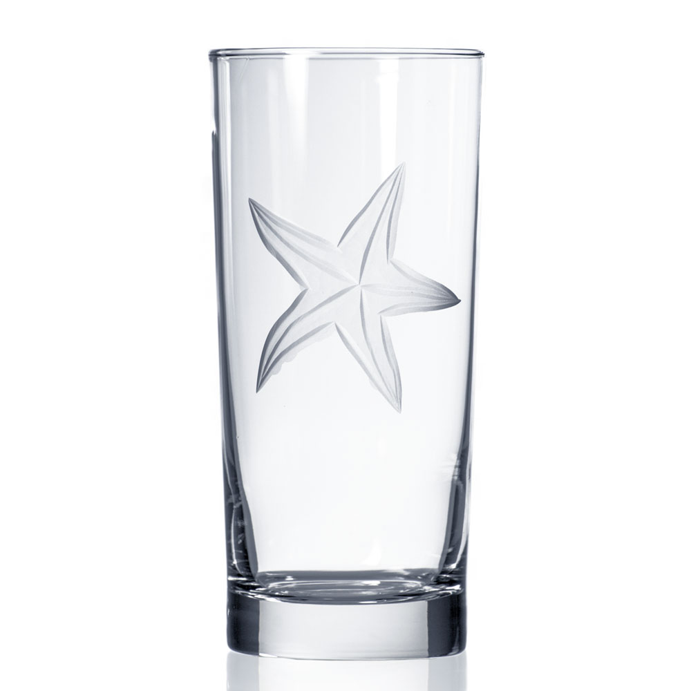 Rolf Glass Starfish Highball Drink Glasses 15 oz. Made in USA