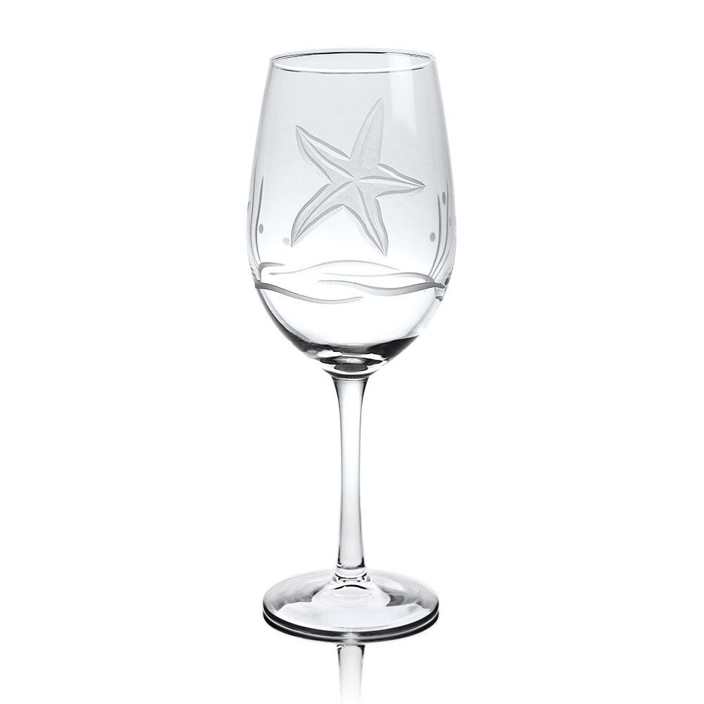 Rolf Glass Starfish White Wine Glasses 12 oz. (Set of 4)