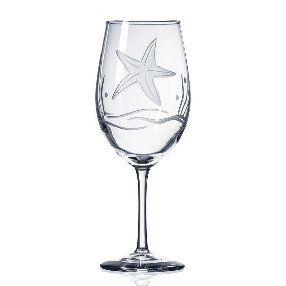 Starfish Etched White Wine Glass by Roth Glass made in USA