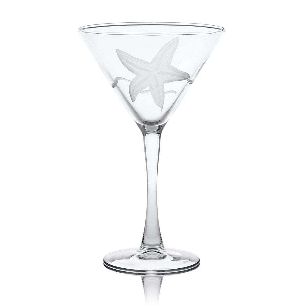 Rolf Glass Starfish Martini Glasses 10 oz. (Set of 4)
