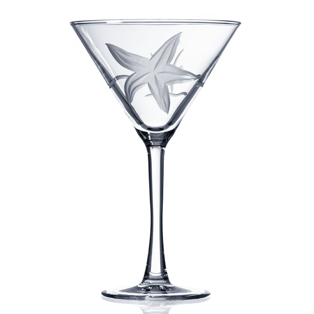 Starfish Etched Martini Glasses by Rolf Glass 10 oz. Set of 4