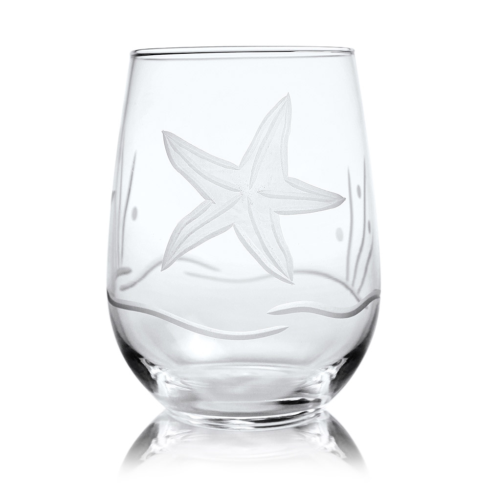 Rolf Glass Starfish Stemless Wine Glass Tumblers 17 oz. (Set of 4)