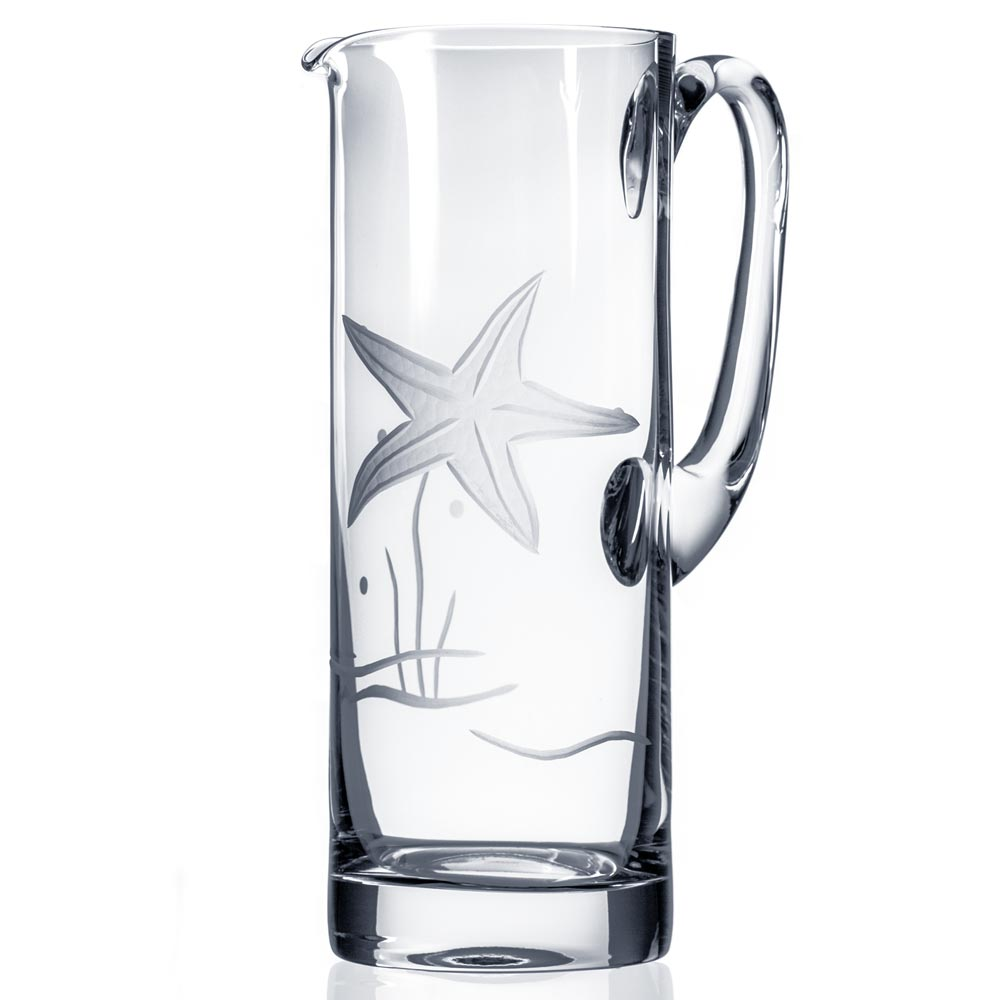 Rolf Glass Starfish Glass Pitcher 35 oz. Etched Starfish Pitcher
