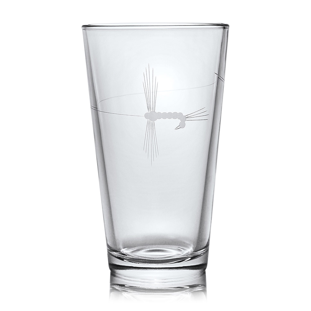 Rolf Glass Fly Fishing Etched Pint Beer Glass 16 oz. (Set of 4)