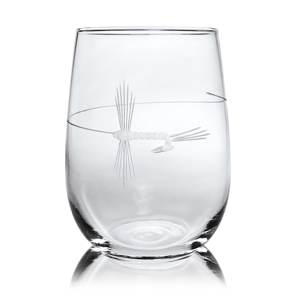 Rolf Glass Fly Fishing Stemless Wine Glass Tumblers 17 oz. (Set of 4)