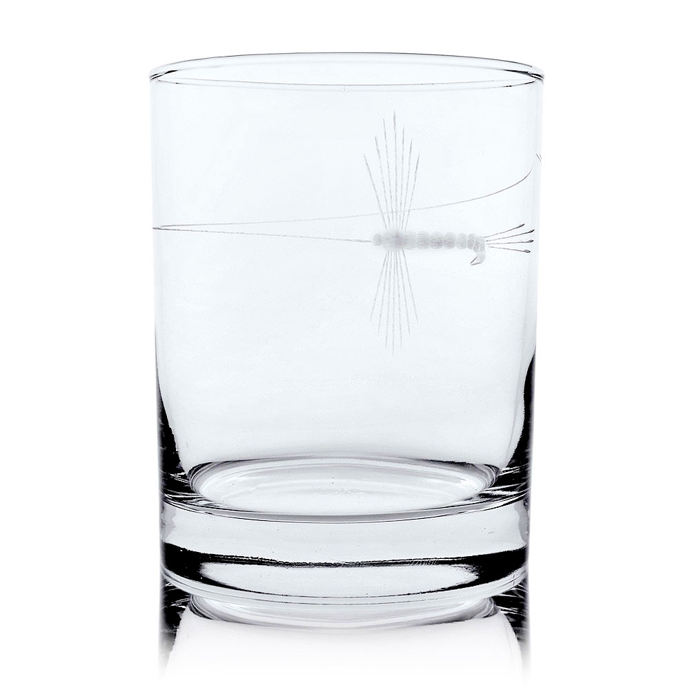 Rolf Glass Fly Fishing Double Old Fashioned Whiskey Glasses 14 oz. (Set of 4)