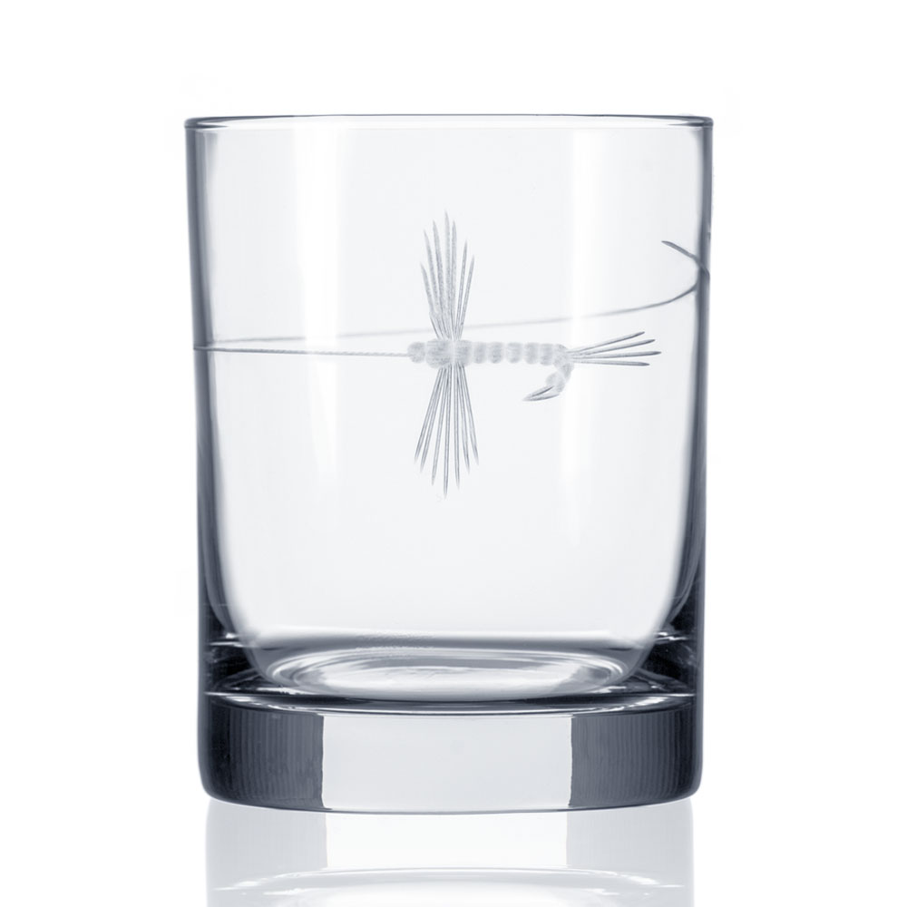 Fly Fishing Double Old Fashioned Whiskey Glasses by Rolf Glass 14 oz. Made in USA