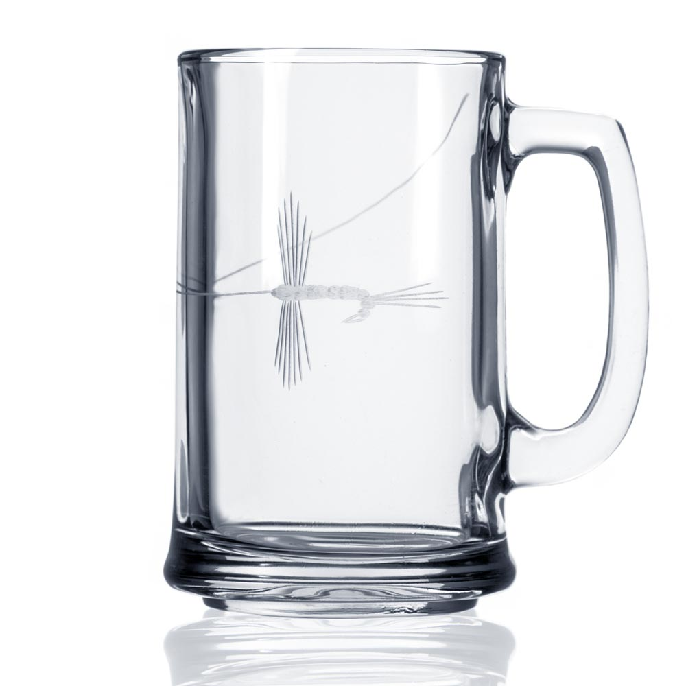 Fly Fishing Beer Mug by Rolf Glass Made in USA. Diamond etched fishing fly in glass
