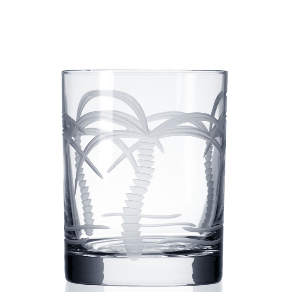 Rolf Glass Palm Tree Double Old Fashioned Whiskey Glasses 14 oz. (Set of 4)