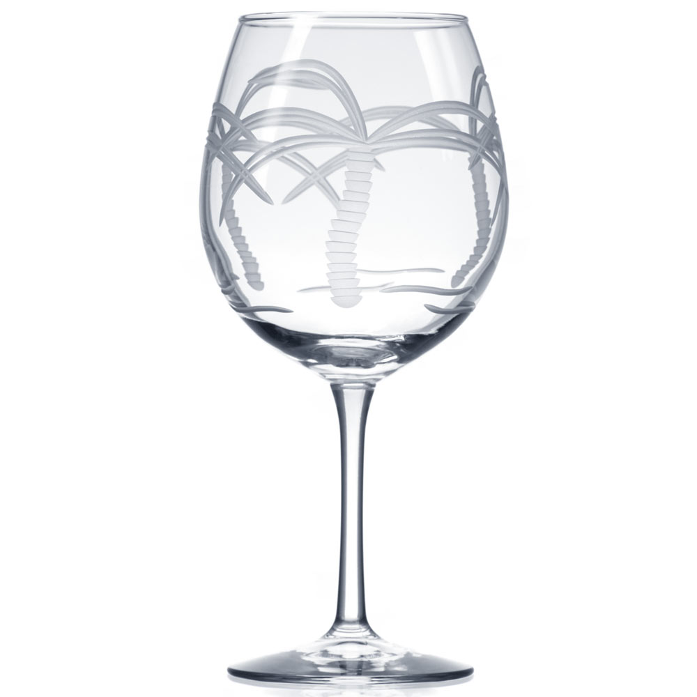 Rolf Glass Palm Tree Balloon Wine Glasses 18 oz. (Set of 4)
