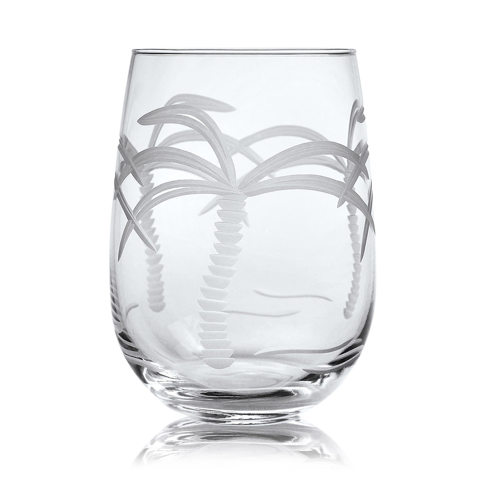 Rolf Glass Palm Tree Stemless Wine Glass Tumblers 17 oz. (Set of 4)