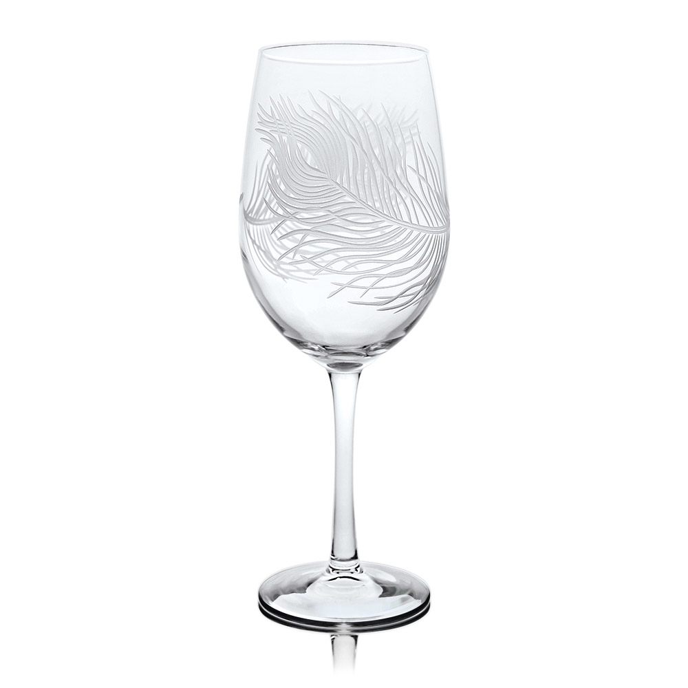Rolf Glass Peacock White Wine Glasses 12 oz. Set of 4