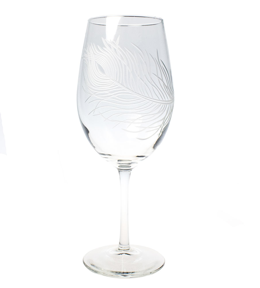 Rolf Glass Peacock Wine Glasses, All Purpose 18 oz. (Set of 4)