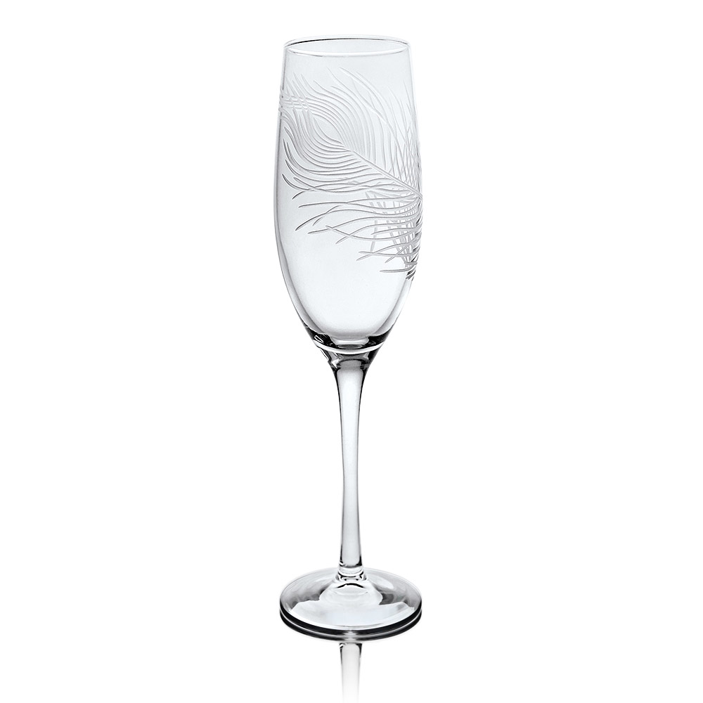 Rolf Glass Peacock Champagne Flutes 8 oz.