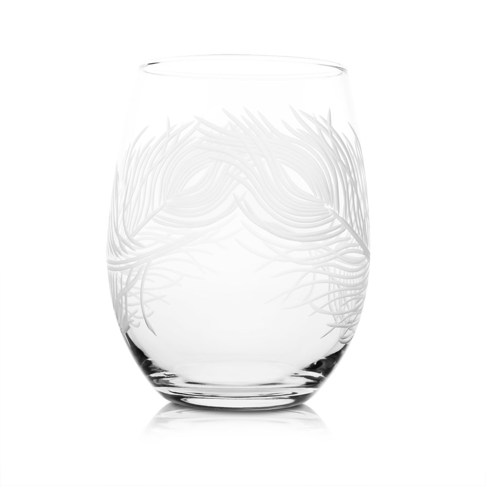 Rolf Glass Peacock Stemless Wine Glass Tumblers 17 oz. (Set of 4)