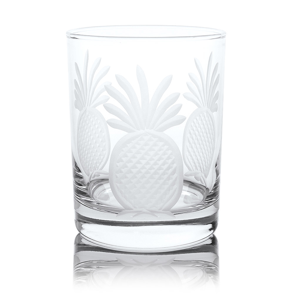 Rolf Glass Pineapple Double Old Fashioned Whiskey Glasses 14 oz. (Set of 4)