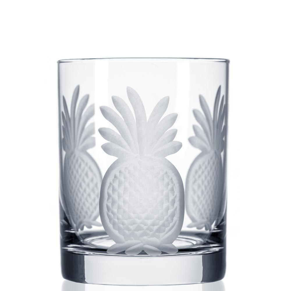 Rolf Glass Pineapple Double Old Fashioned Whiskey Glasses 12 oz. (Set of 4)