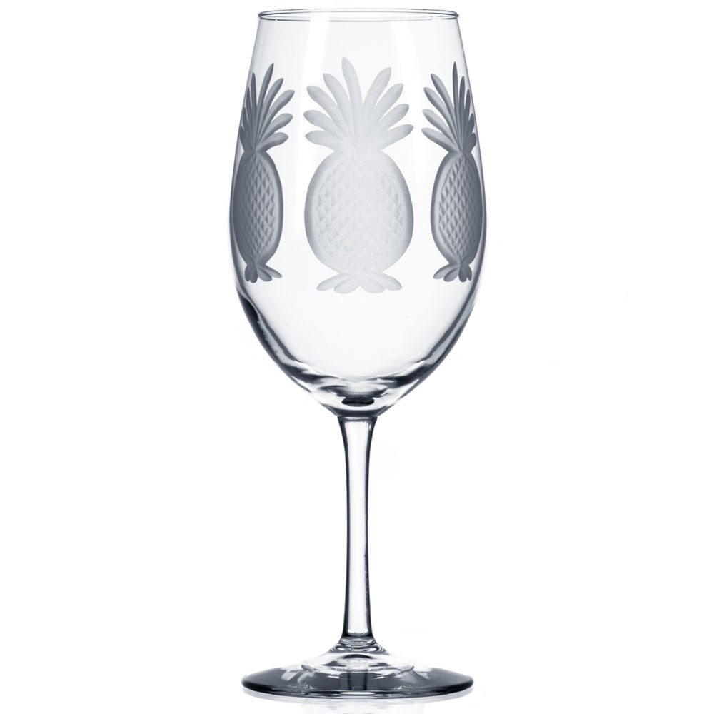 Rolf Glass Pineapple Etched Wine Glasses, All Purpose 18 oz. (Set of 4)