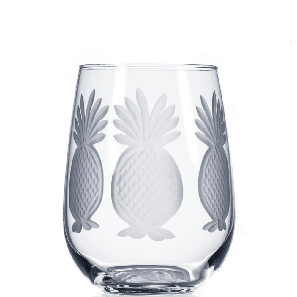 Rolf Glass Pineapple Stemless Wine Glass Tumblers 17 oz. (Set of 4)